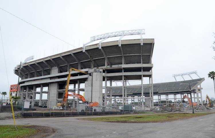 Citrus Bowl Stadium is retaining its upper level seating, but the removal of the lower sections is well under way.