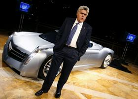 2006: Jay Leno introduces his turbine-powered EcoJet concept at the Specialty Equipment Market Association show in Las Vegas.