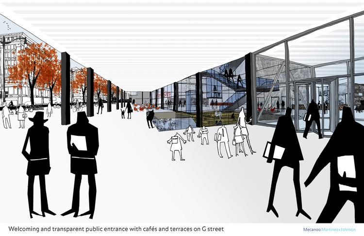 An rendering of the reimagined main entrance of the MLK Library, from Mecanoo, Martinez & Johnson Architecture.