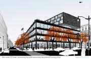 Rendering of the exterior from Mecanoo, Martinez & Johnson Architecture.