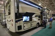 Televisions on the outside of RVs were a trend at the Minneapolis RV, Vacation and Camping Show.