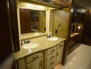 The master bathroom inside the Entegra Coach Aspire, discounted at the show from its usual price of $368,134 to $269,900