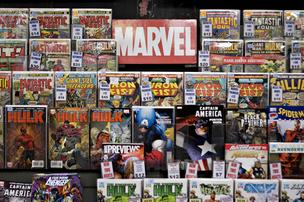 Marvel comics sit on display at Midtown Comics in New York.