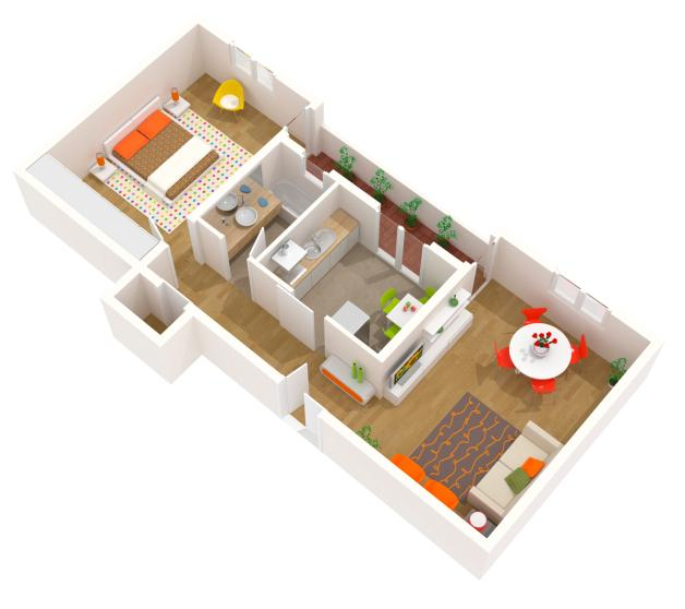 Apartment Design   3d Floor Plan Of A Contemporary Interior