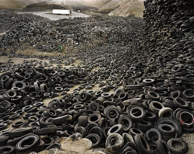 "Edward Burtynsky's ""Oxford Tire Pile #1, shot in Westley, Calf., is among the photographs donated to the Baltimore Museum of Art."