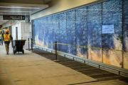 A worker pulls a cart down a hall in RDU's Terminal 1 past imagery of ripples in water that present an optical illusion of movement to guests.
