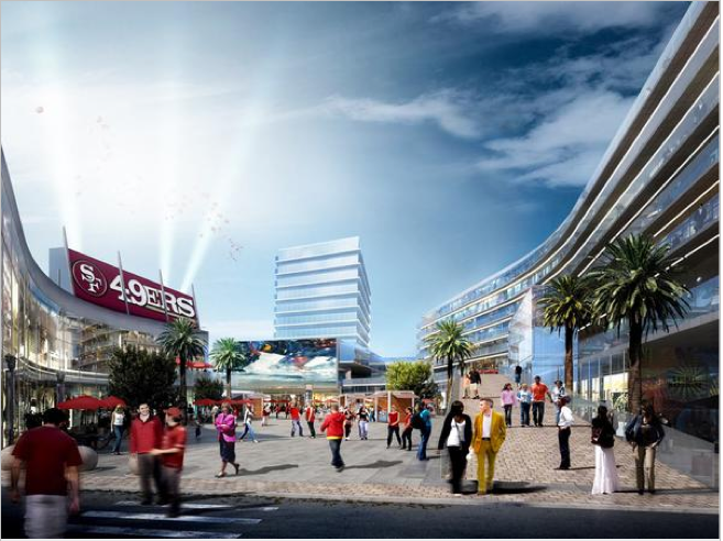 A conceptual rendering of Centennial Gateway, a proposed mixed-use project just north of Levi's Stadium. It is a joint venture of Montana Property Group and Lowe Enterprises. Related California is also moving forward with an even bigger project to the north of this one. The city on Friday released two term sheets spelling out more details on the approval process.