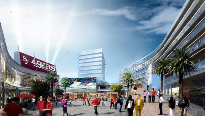 A conceptual rendering of Centennial Gateway, a proposed mixed-use project just north of Levi's Stadium. It is a joint venture of Montana Property Group and Lowe Enterprises.