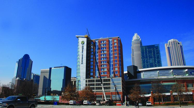 The Hyatt House Charlotte, formerly known as the Hotel Sierra, features 163 rooms.