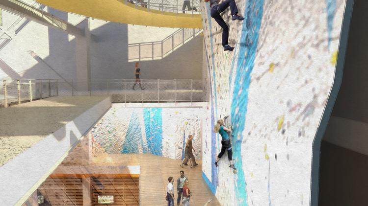 Architectural rendering of the rock climbing wall in new student recreation center in the West Building.