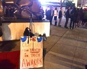 Only a few dozen protesters showed up at Monday night's Crunchies awards to protest gentrification of San Francisco that they blame on tech companies.