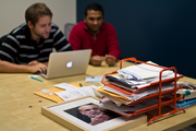 Simple's finance team (and Ben Bernanke, chairman of the Federal Reserve) at work.
