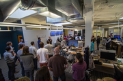 Simple's CEO, Josh Reich, rallying the troops during Simple's weekly all-hands meeting.