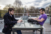 Engineers working from Simple's roof deck.