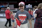 One U of L Cardinals fan wore a crazy hat during the celebration.