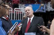 U of L president James Ramsey talked with media about the impact of the sports teams' successes on the university.