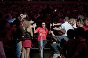 Antonita Slaughter was greeted by happy fans as she came onto the floor.