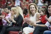 Joanne Pitino is shown in the crowd, celebrating the U of L teams' NCAA success.