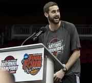 Luke Hancock, who was named Most Outstanding Player of the NCAA FInal Four, spoke to the crowd.