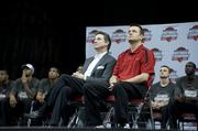 Men's coach Rick Pitino, left, and women's coach Jeff Walz sat together during the video presentation.