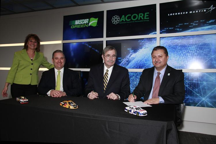 From Left to right: Mike Lynch, vice president of green innovation for NASCAR; Michael Brower, ACORE CEO and president; and Frank Armijo, vice president of energy solutions at Lockheed Martin.