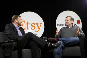 Etsy CEO Chad Dickerson, right, chats with ABJ Editor Colin Pope at the ABJ Face 2 Face interview series hosted at Whole Foods Austin office on Feb. 11. The head of the online retailer said that his company has had to adapt in some unusual ways to meet the needs of its sellers and customers.