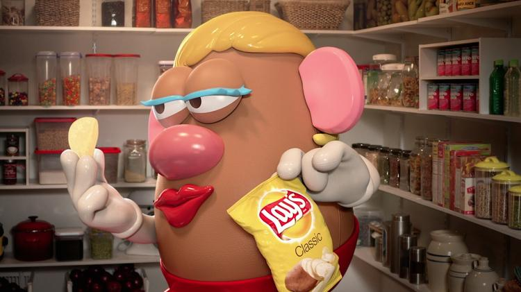 Mrs. Potato Head co-stars in a new Lay's potato chip TV commercial from Energy BBDO/Chicago.