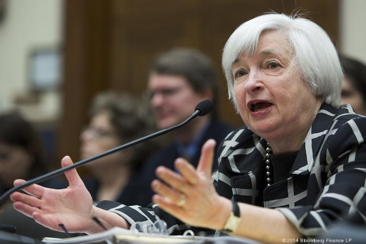 Janet Yellen testifies at a House Financial Services Committee during her first appearance before Congress as Federal Reserve chair.