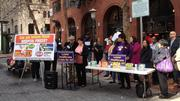 The SEIU-UHW press conference drew a few journalists, but little attention from passersby.