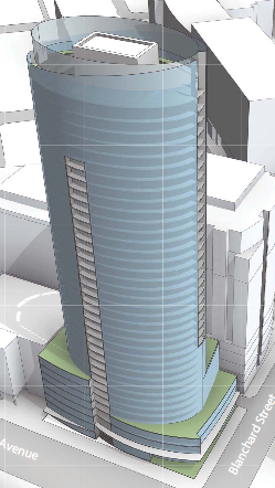 Clise Properties is proposing to build this 40-story apartment project next to Amazon.com's campus in the Denny Triangle area of downtown Seattle.