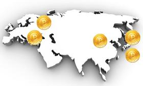 The five largest Bitcoin exchanges are based in Slovenia, Bulgaria, Japan, and China.