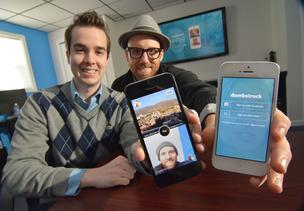 Michael Tanski, left and Peter Allegretti are co-founders of the Dumbstruck app developed by their Albany, NY startup company Doctored Apps.