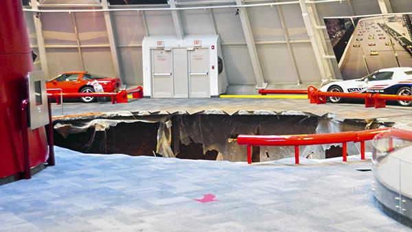 Sinkholes can have devastating effects and are seen across the country. Pictured is a sinkhole that formed in the middle of the National Corvette Museum in Bowling Green swallowed 8 cars.