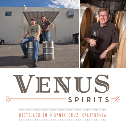 Clockwise from top left: The founders of San Jose's Strike Brewing Co., Brewmaster Drew Erlich and CEO Jenny Lewis; Rob Jensen, owner of Testarossa Winery in Los Gatos; A logo design for Venus Spirits, a new Santa Cruz distillery that will offer whiskey, gin and an American version of tequila starting this spring.