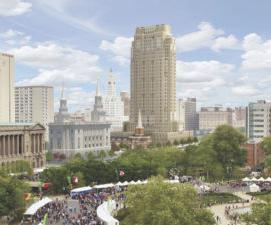 A 32-story residential tower and meeting house will rise along Vine Street.