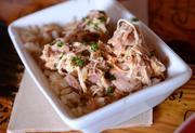 A combination of shredded chicken and rice called chicken bog. Simple and delicious.