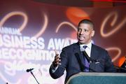 Sacramento Mayor Kevin Johnson speaks at the Sacramento Hispanic Chamber of Commerce awards dinner. He won the President's Award.