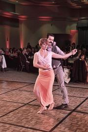 "The Sacramento Hispanic Chamber of Commerce awards gala featured a program of ""Latin Dancing with the Stars."" Here, Joey O'Shea, vice president of the Sacramento Rainbow Chamber of Commerce dances with Samantha Gossett of Yemaya Salsa Dance Studio."