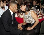 Sacramento Mayor Kevin Johnson shares a laugh with Sacramento Hispanic Chamber of Commerce CEO Alice Perez at the Chamber's awards dinner.