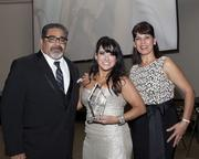 Sacramento Hispanic Chamber of Commerce board chairman Marcus Gomez, Sofia Gutierrez of Halldin Public Relations and Chamber of Commerce CEO Alice Perez pose at the Chamber's awards. Gutierrez won the Young Professional of the Year award.