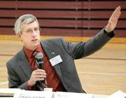 Craig Stone, Washington State Department of Transportation Assistant Secretary, Toll Division answers questions during an I-90 tolling public meeting on Mercer Island.