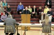 Jeff Schumacher, of Bothell, speaks against the idea of tolling I-90 during an I-90 tolling public meeting..