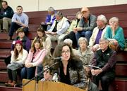 Anca Wilson, Principal of St. Monica Parish School on Mercer Island, speaks against the idea of tolling I-90 during an I-90 tolling public meeting.