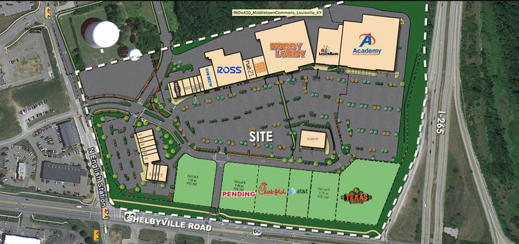 A number of new tenants now are listed for a major retail center in Middletown, shown above, and a related project on Outer Loop.
