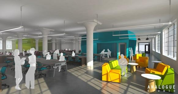 MassChallenge unveiled this rendering of the startup accelerator's future space at 21 Drydock Ave. in Boston. The new space will open to startups this summer.