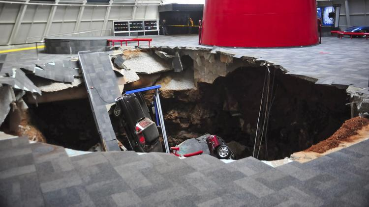 Sinkholes can occur when soil collapses into large holes caused by flowing water eroding underground layers of rocks.