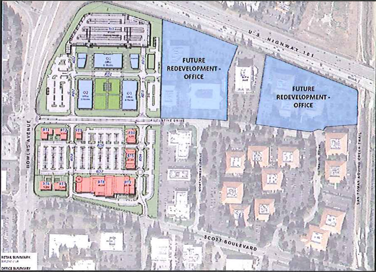 A site plan for Santa Clara Square shows the retail component, closest to Scott Boulevard, and the first phase of the office component, at Bowers Avenue and Highway 101. Irvine controls most of the entire parcel pictured.