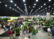The John Deere section of the 2014 National Farm Machinery Show at the Kentucky Exposition Center.