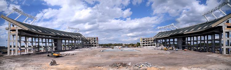 A panorama of the Citrus Bowl Stadium construction shot from the Citrus Sports offices. Three different images were combined to create this super-wide-angle view.