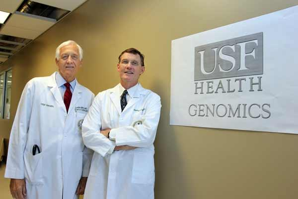 Dr. Leslie Miller, director of USF Heart Institute, and Dr. Stephen Liggett, vice dean for research for USF Morsani College of Medicine